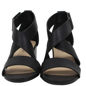 Shoes - Black Open Toe Strappy Mid Stacked Block Heel